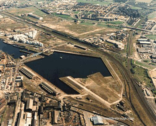 early 1990s aerial view of dock